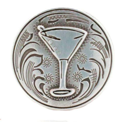 Martini Glass Screwback Concho Antique Silver Front