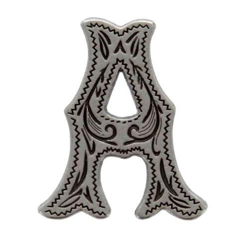 Alphabet Letter A Antique Silver Concho Front