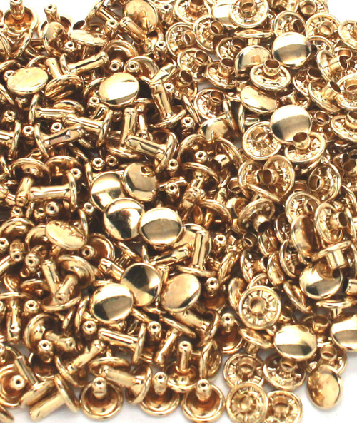 Double Cap Rivets Solid Brass Medium 100 Pack 1381-11 by Stecksstore