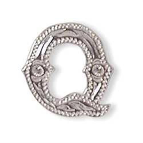 Alphabet Letter Q Shiny Silver Screw Back Concho