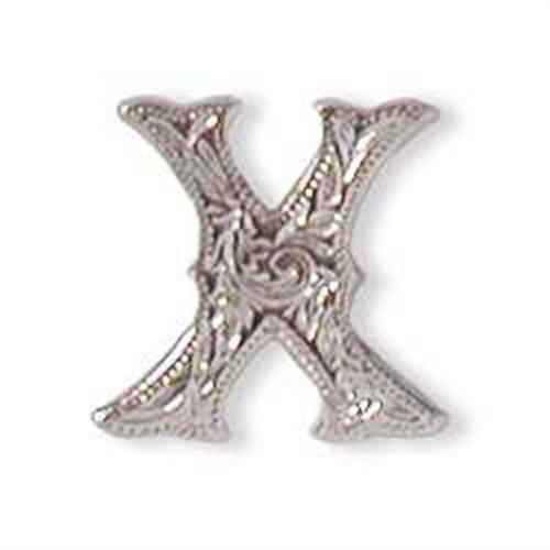 Alphabet Letter X Shiny Silver Screw Back Concho
