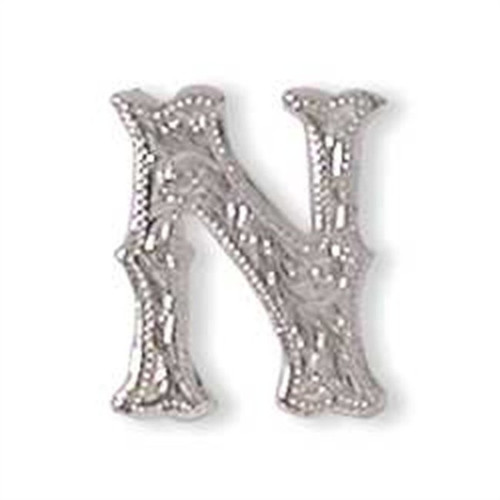 Alphabet Letter N Shiny Silver Screw Back Concho