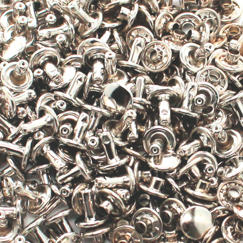 Nickel Large Double Cap Rivets with Ribbed Caps 1000 Pack