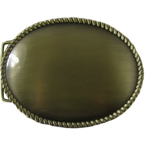 Western Buckle Blank Antique Brass Plated Rope Edge