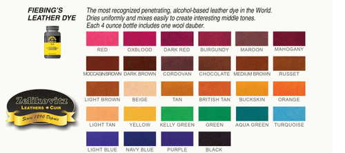 Fiebing's Leather Dye Color Chart