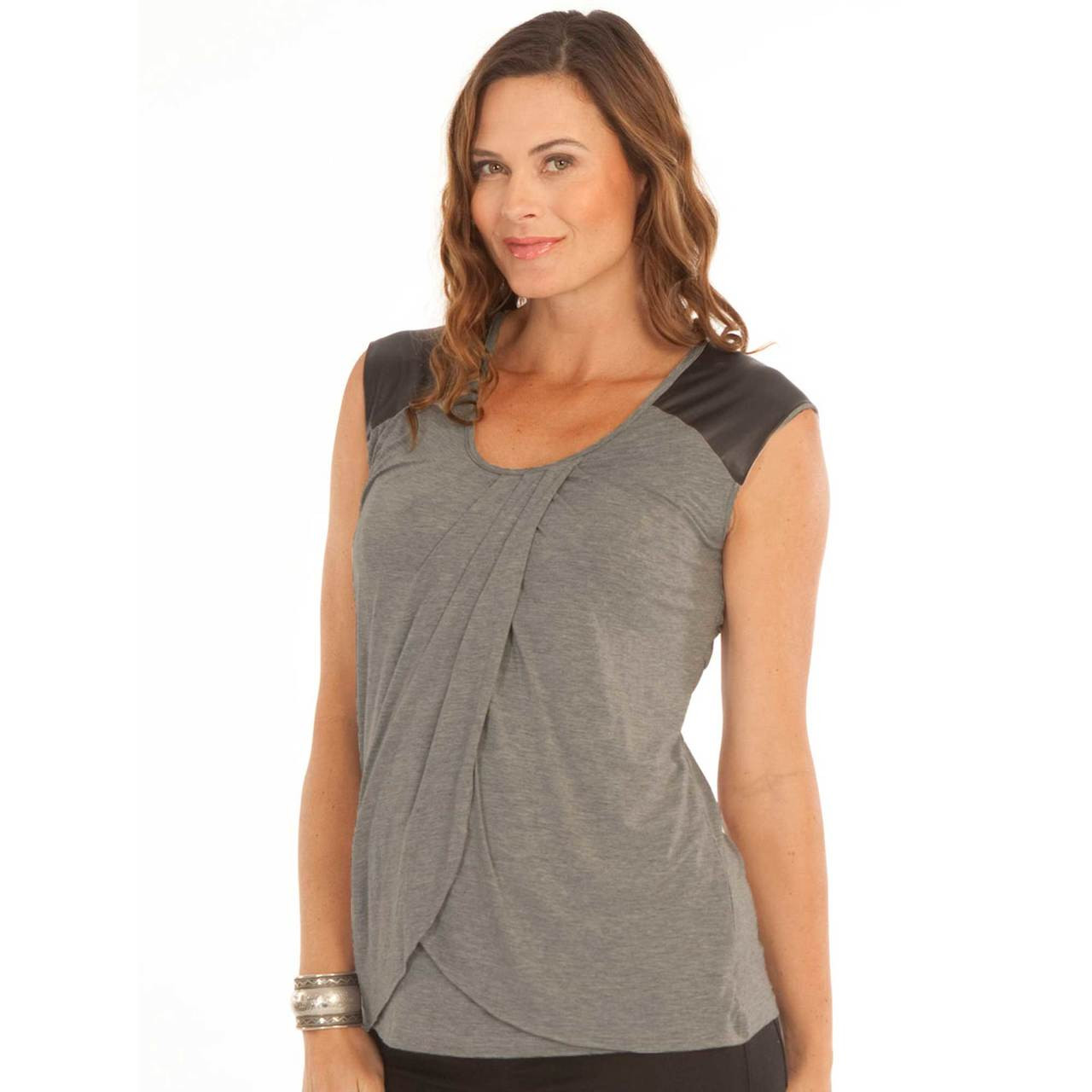 239a41365c2 Angel Maternity Petal Nursing Tank with Faux Leather. Breastfeeding ...