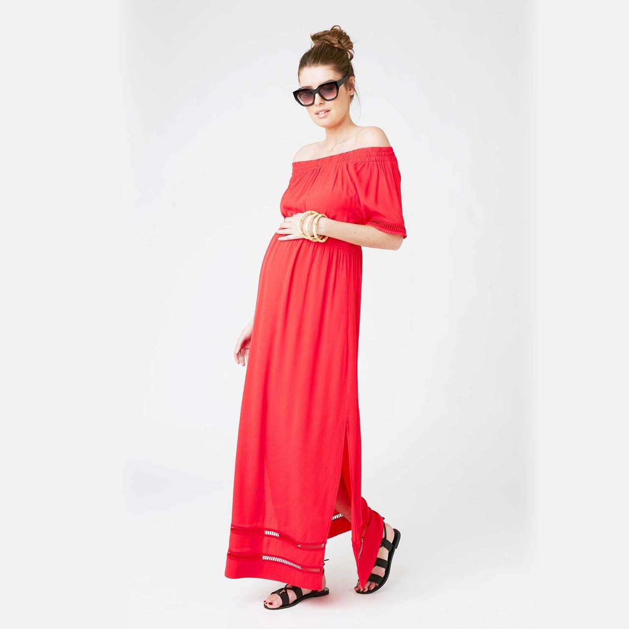 42c84c056d5 Buy Ripe Maternity Stripe Cold Shoulder Maxi Dress - Peekaboo Baby ...
