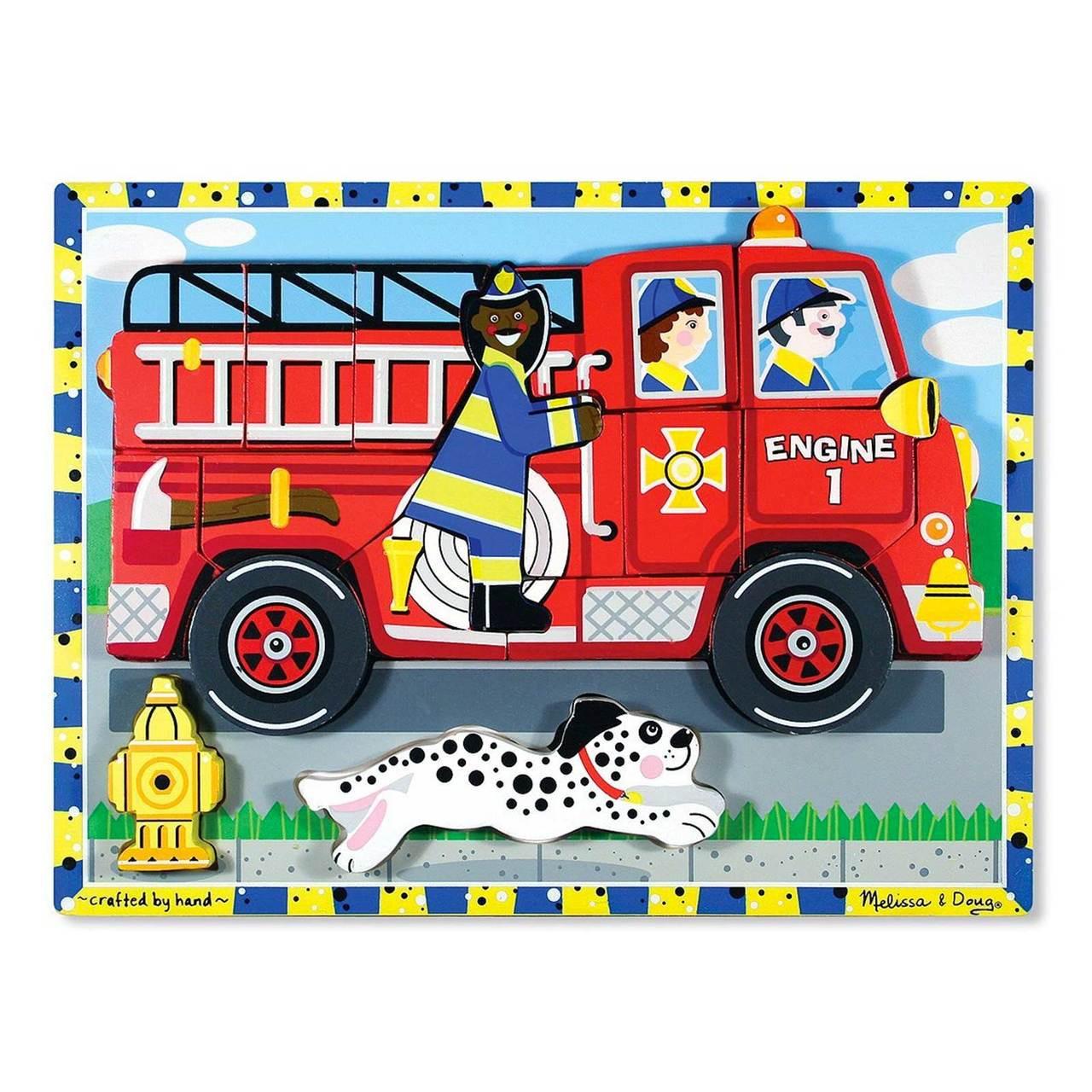 Melissa Doug Wooden Chunky Puzzle Firetruck