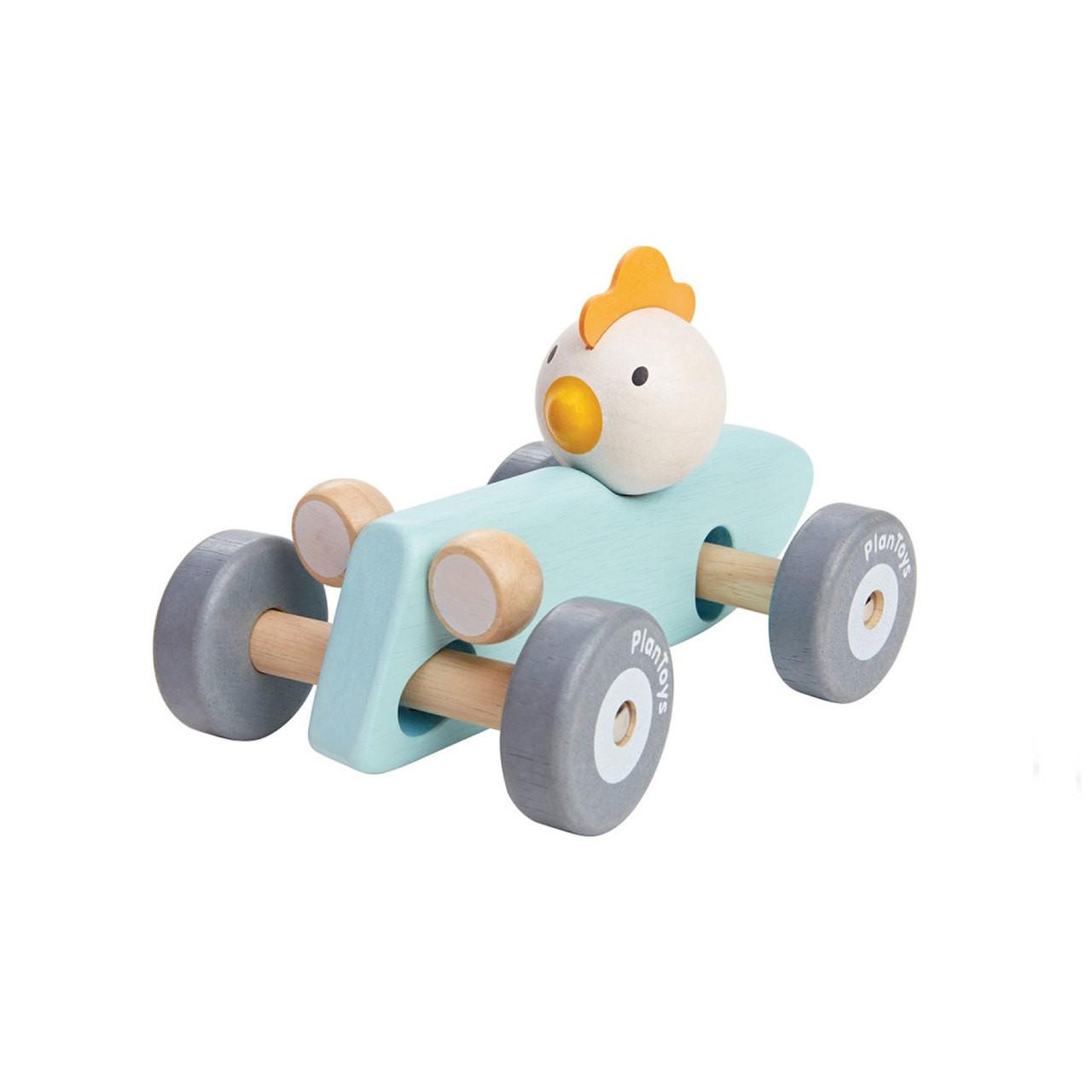 plantoys pastel chicken racing car