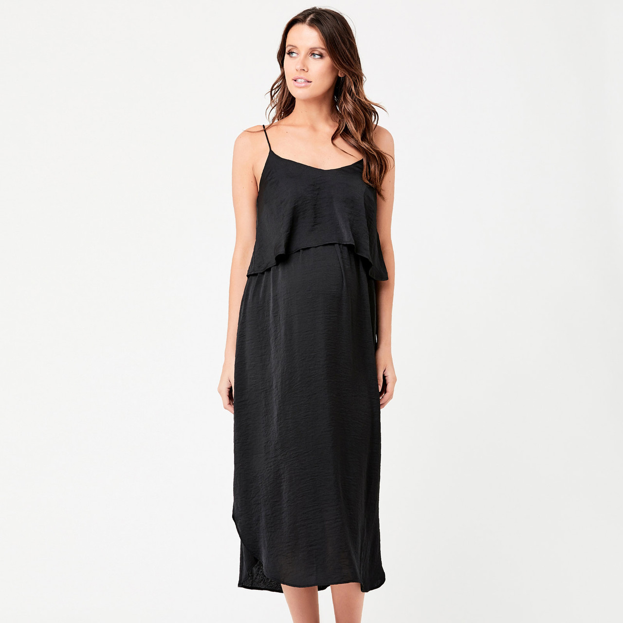 dacc04d531edf Ripe Maternity Nursing Slip Dress - Black