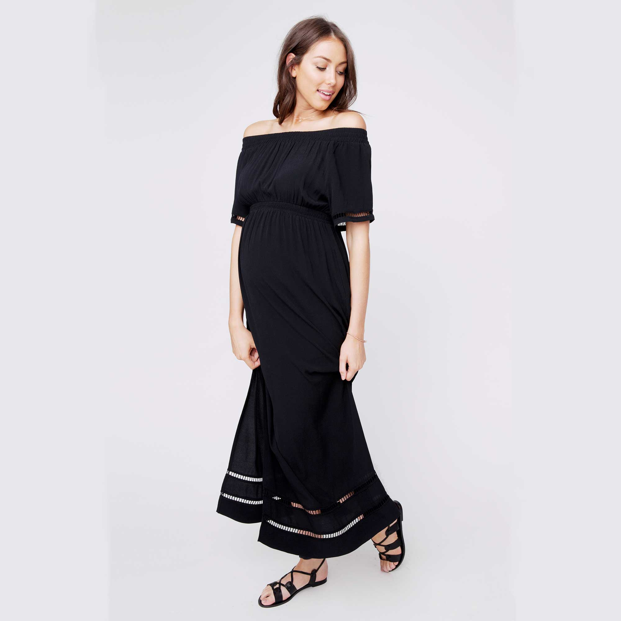 286897a474a Details about NEW Ripe Maternity Cold Shoulder Maxi Pregnancy Dress