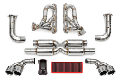 Fabspeed's Supersport Performance Package includes Fabspeed's Supersport X-Pipe, Cat Bypass Pipes, Deluxe Tips, Sport Headers and ExperTune Performance Software with Handheld Tuner.