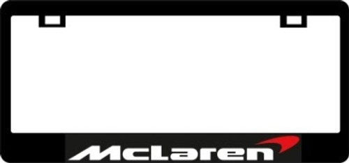 McLaren CF Plate Frame WHITE TEXT with Orange Swoop