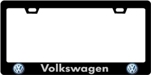 Volkswagen CF Plate Frame WHITE TEXT with Logo
