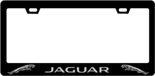 Jaguar Plate Frame Lt. Grey Text & Logo 2x2