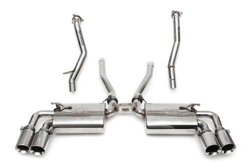Complete high-performance exhaust & intake solution for the 958 Cayenne S / GTS; includes Maxflo Mufflers with Deluxe Quad Style Tips, Secondary Catbypass Pipes, and a BMC F1 Replacement Air Filter. With optional ECU Tune Upgrade available.