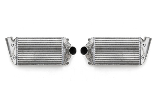 The EVO ClubSport intercooler upgrade kit is the first of its kind for the 996TT. The OEM intercoolers are extremely restrictive for higher than stock power levels. Improved design increases power and torque on all modified Porsche 996 Turbo cars and the power gains experienced are exponentially greater as power is increased.