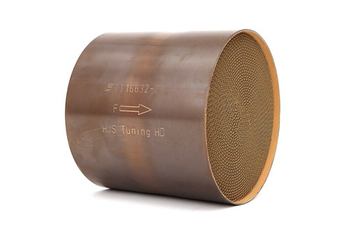 Genuine HJS Tuning catalytic converter cores for replacement/upgrade of restrictive factory cats.  This is an individual catalyst; additional fabrication required for use.  (Photos are representational; actual appearance/markings may vary slightly.)