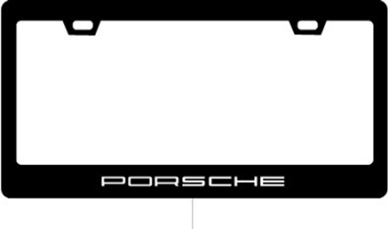 Porsche WHITE 5.75 text License plate Frame 2x2