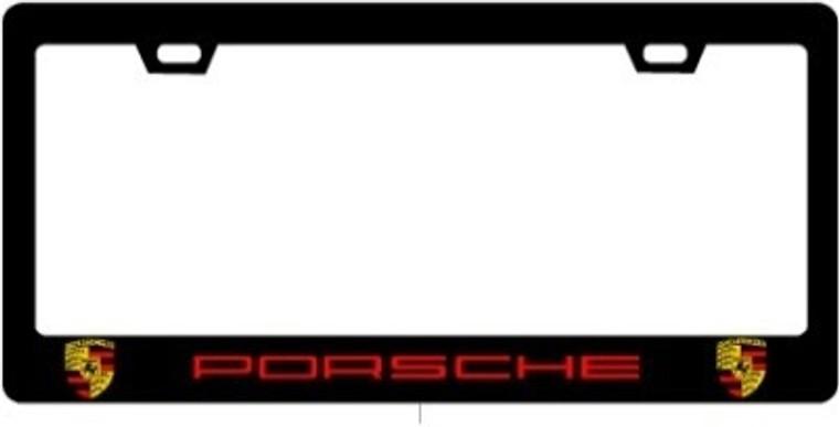 Porsche CF Plate Frame RED TEXT / CREST 2X2