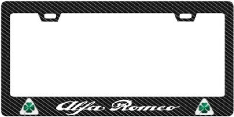 Alfa Romeo Quadrifoglio Plate Frame Logo & White Text 2x2