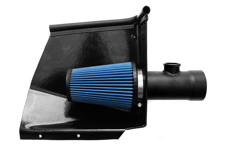 """Direct replacement for the factory airbox that utilizes the OEM """"ram air"""" fresh air ducts for lower intake temperatures and added power."""
