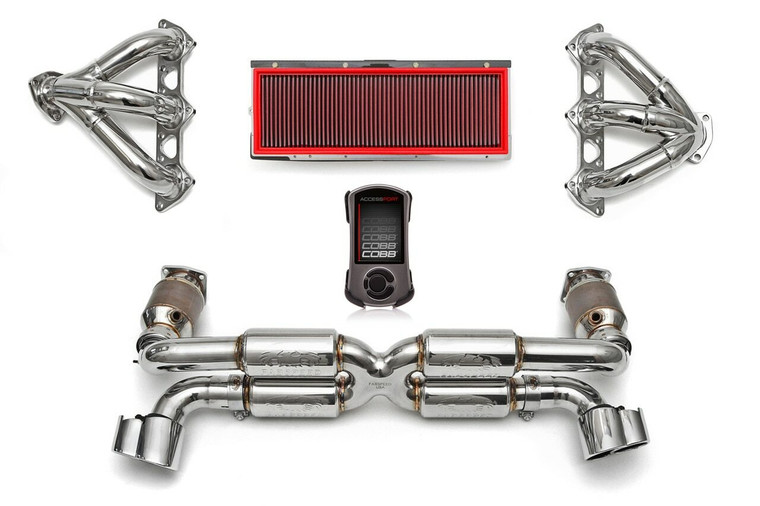 Complete high-performance exhaust & intake solution for the 996 GT2; includes Supersport X-Pipe System (includes Sport Catalytic Converters), Sport Performance Headers, Deluxe X-50 Style Tips, High Performance Air Intake and ExperTune Performance Software with Handheld Tuner.