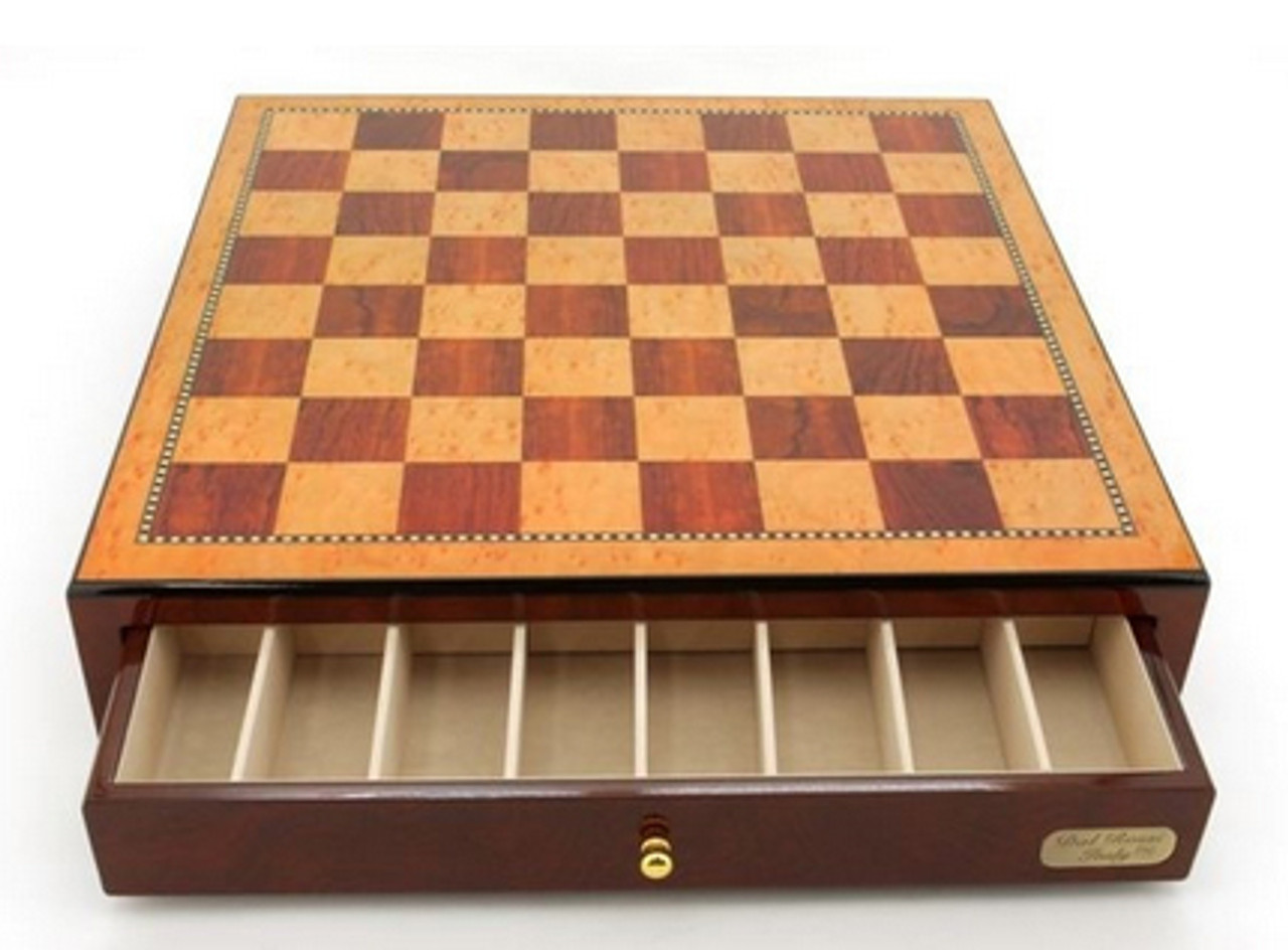 Dal Rossi 45cm Mahogany Finish Chess Board with Storage Drawers (Board Only) (L2288DR) storage open