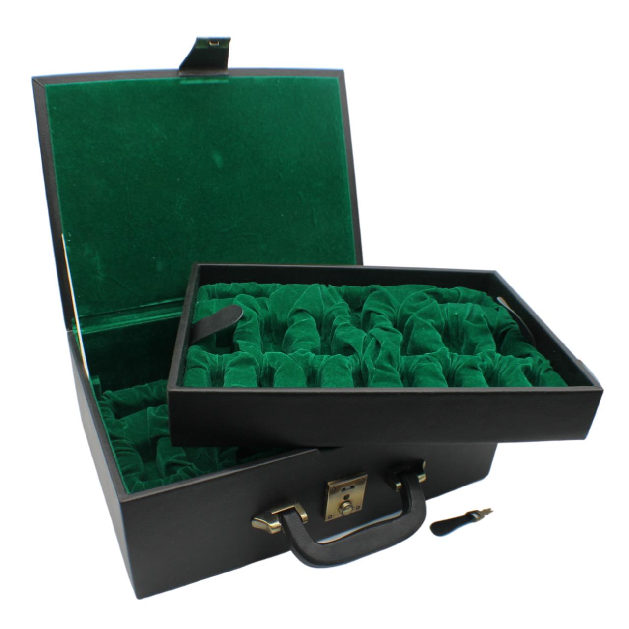 Rex Noir Chess Storage Box Black Organic Leather for 95mm pieces (BOX-L-11)
