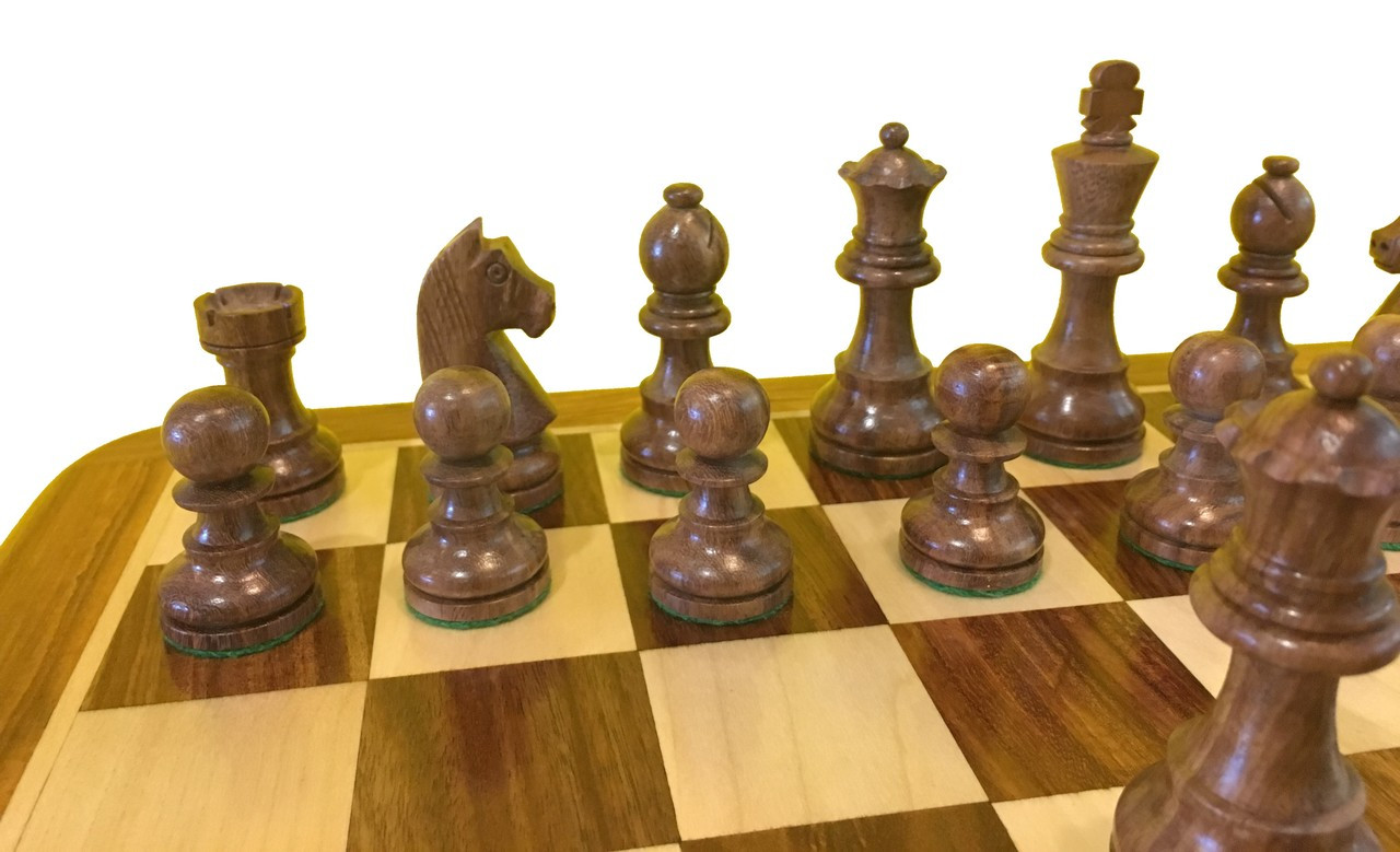 Rex Noir Elite 85mm Acacia / Boxwood Chess Pieces Only (ELI-S-85)