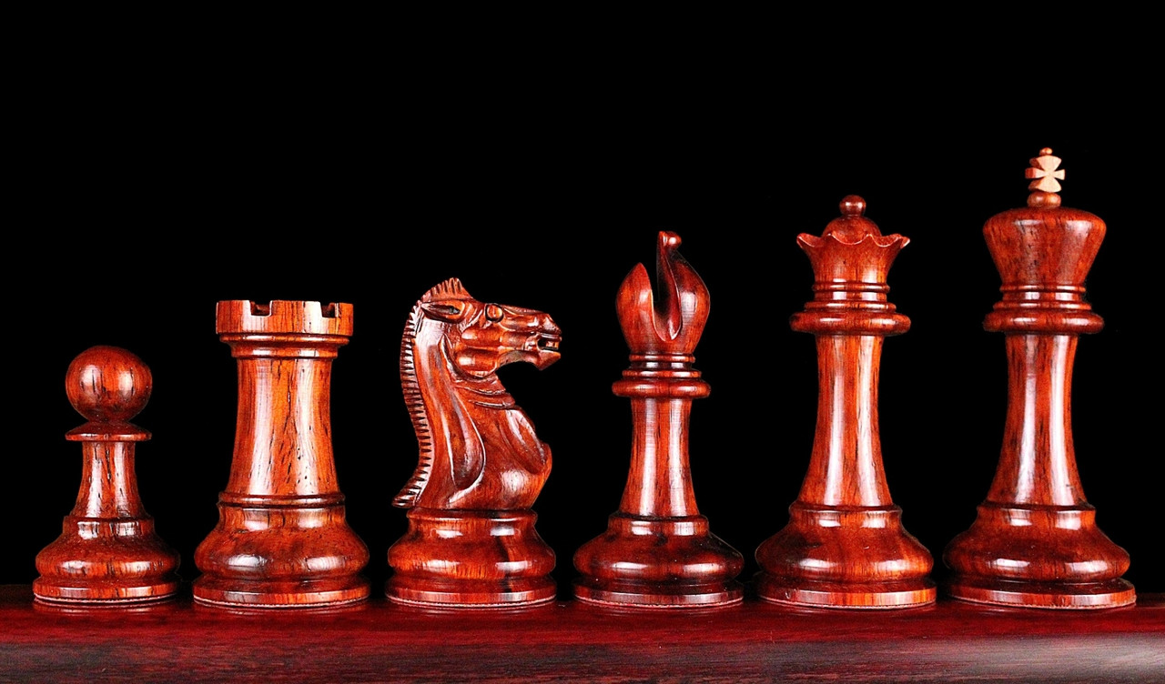 Rex Noir Warsaw 87mm Bud Rosewood / Boxwood Chess Pieces Only (WAR-D-87)