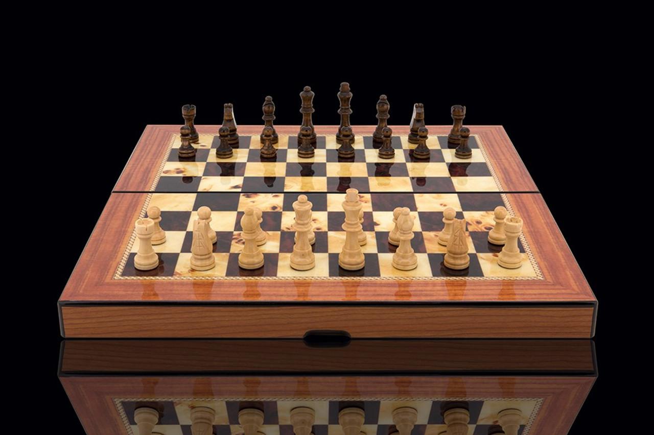 Dal Rossi Walnut Gloss Finish 38cm Folding Chess Set (L2047DR) open