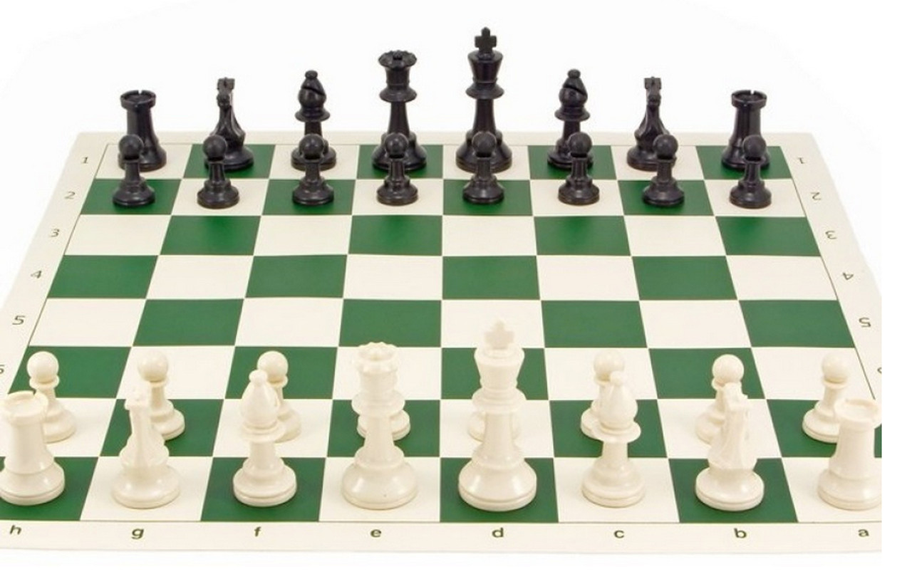 Tournament Chess Set 95mm Single Weighted Pieces with Folding Board (PP953&BB002) on green board