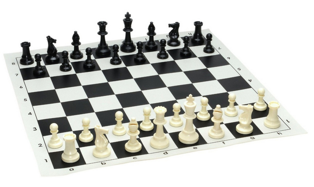 Tournament Chess Set 95mm Single Weighted Pieces with Roll up Board (PP953&BB001)