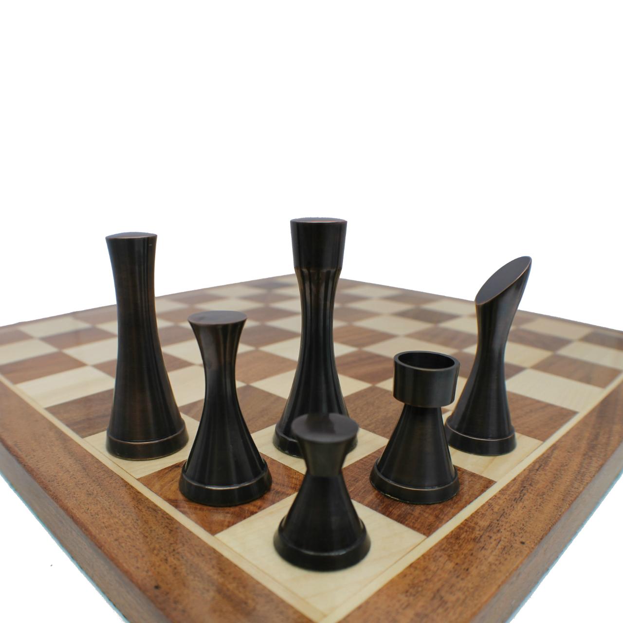 Rex Noir Prestige Contemporary Design Metal / Brass Chess Pieces (PRE-CON-95) dark