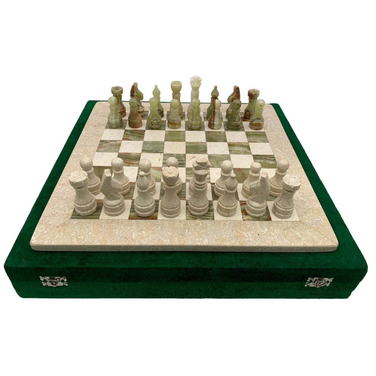"16"" Onyx Marble Chess Set with Velvet Case Cream / Green (158CW)"