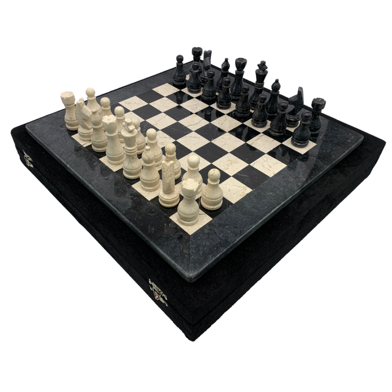 "16"" Onyx Marble Chess Set with Velvet Case Black / Cream (162CW) set"