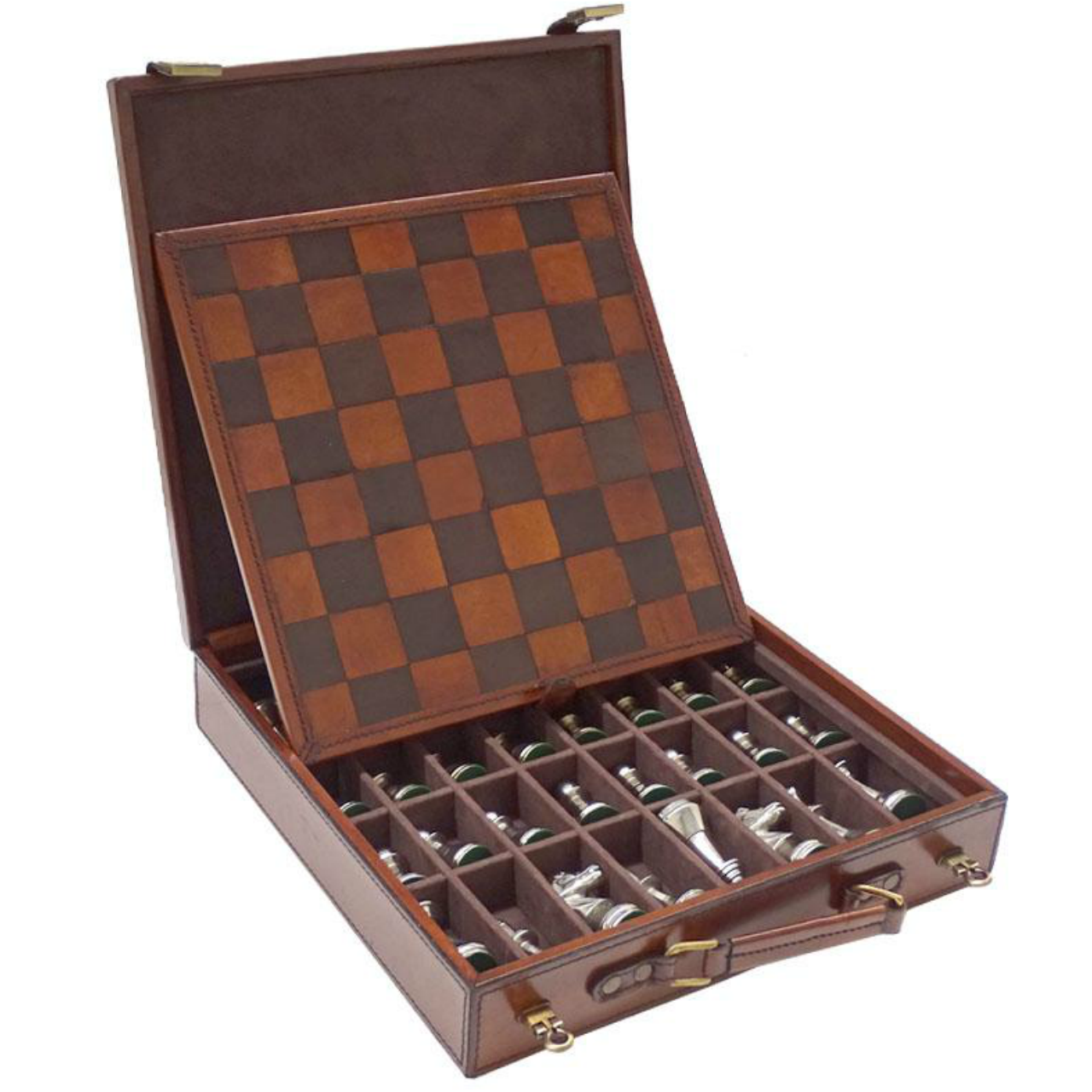 Norwood Luxury Leather Chess Set with Nickel Pieces (NORLEATHER1)