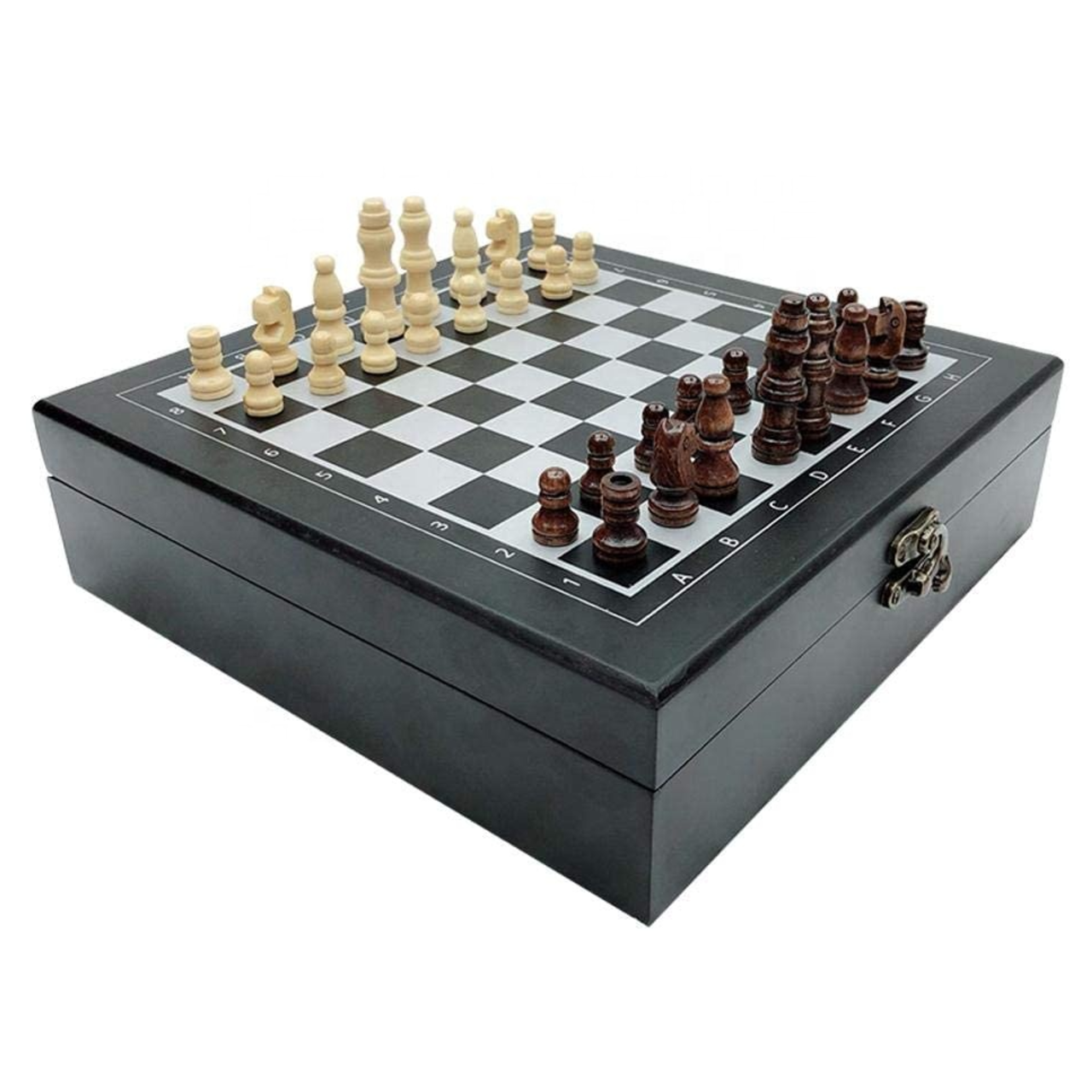 4 in 1 Wooden Chess Set, Cards, Dice and Dominoes with Folding Carry Case (CH20)