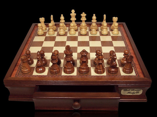Dal Rossi Chess Set 40cm Walnut Board with Wooden Pieces (L2244DR & L3010DR) full set