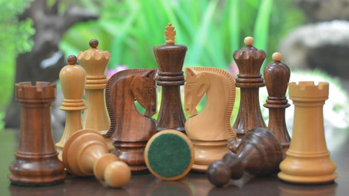 Rex Noir Valletta 100mm Sheesham / Boxwood Chess Pieces (VAL-S-10)