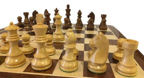 Rex Noir Elite 95mm Acacia / Boxwood Chess Pieces Only (ELI-S-95)