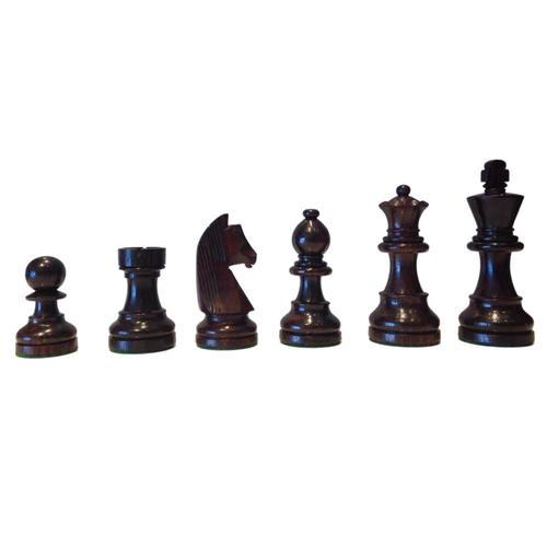Rex Noir Elite 95mm Rosewood/Boxwood Chess Pieces Only (ELI-R-95) dark