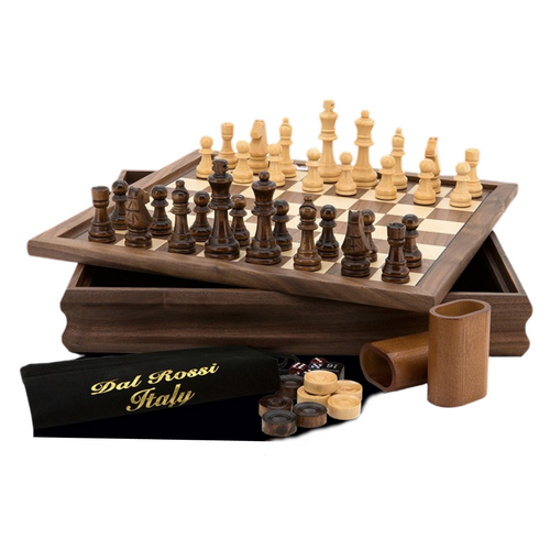 3 in 1 Dal Rossi Game Set: Chess, Checkers & Backgammon (L2051DR) full set