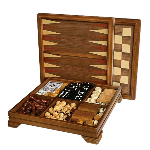 7 in 1 Walnut 33cm Board Game Set (L2052)