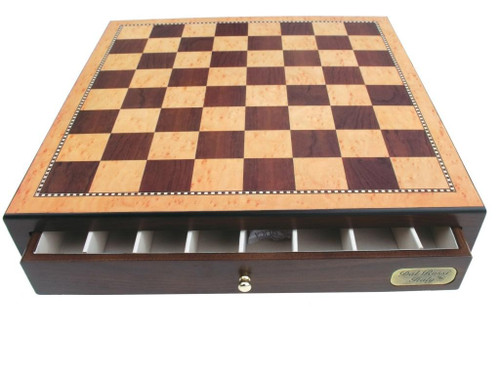 Dal Rossi 45cm Walnut Finish Chess Board with Storage Drawers (Board Only) (L2277DR)