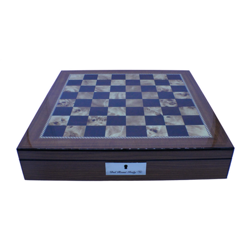 "Dal Rossi Italy Chess Box Walnut Finish Chess Box 16"" (40cm) with storage compartments top"