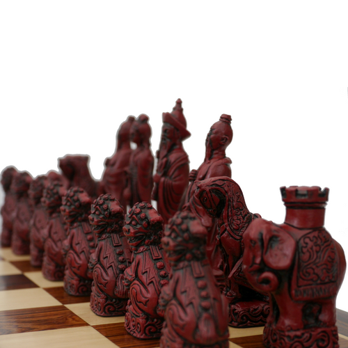 Berkeley Chess Mandarin (Red) Chessmen pieces (BC3005) red pieces
