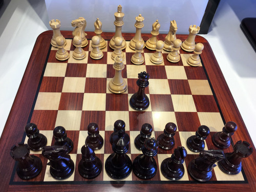 Rex Noir Turin Bud Rosewood Chess Set (Board and Pieces) (TUR-D-11 & DIS-D-45)