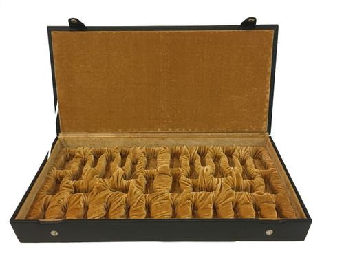 Chess Piece Storage Case Black Organic Leather (BOX-L-10) open